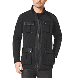 Leather-Trimmed Canvas Utility Jacket
