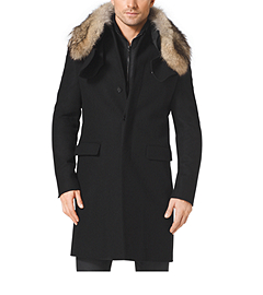 Fur-Trimmed Melton-Wool Jacket