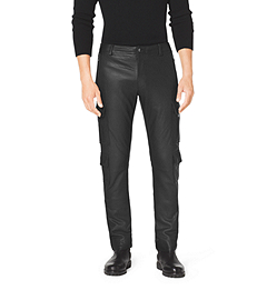 Pebbled-Leather Cargo Pants