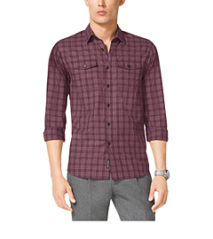 Plaid-Print Cotton Shirt
