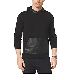 Leather-Paneled Cotton Hoodie