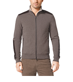 Leather-Trim Stretch-Cotton Jacket