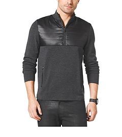 Quilted Nylon and Wool Half-Zip Pullover