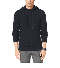 Mixed-Knit Wool-Blend Hoodie
