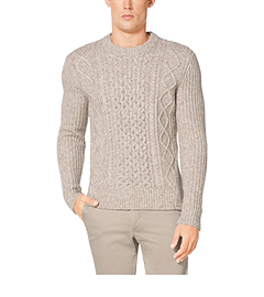 Cable-Knit Wool-Blend Crewneck Sweater