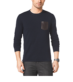 Leather-Pocket Cotton and Merino Wool-Blend Crewneck