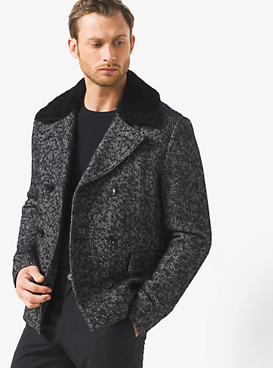 Herringbone Wool-Tweed Peacoat         by Michael Kors