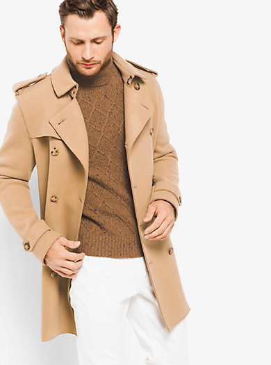 Camel Wool Jersey Trench by Michael Kors