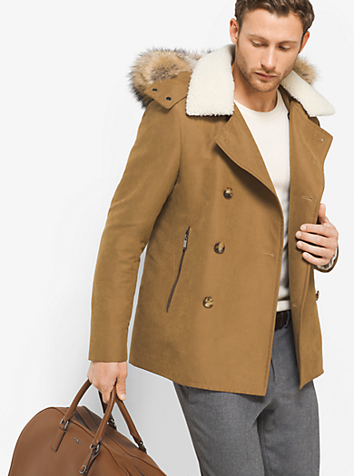 Fur-Trimmed Luxe Peacoat  by Michael Kors