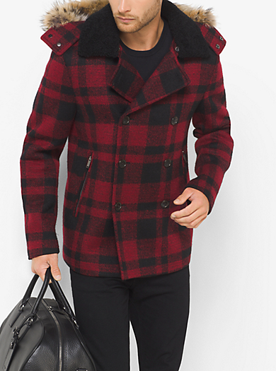 Fur-Trimmed Buffalo Check Wool Melton Anorak Peacoat by Michael Kors