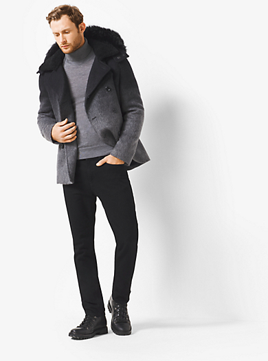 Ombré Melton Fur-Trimmed Anorak Peacoat by Michael Kors