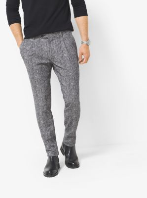 Herringbone Cotton-Blend Pleated Trouser by Michael Kors