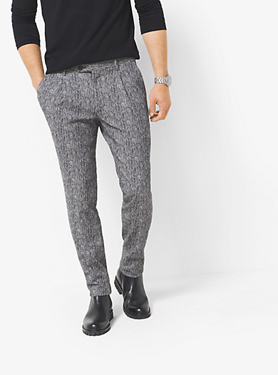 Herringbone Pleated Trouser  by Michael Kors