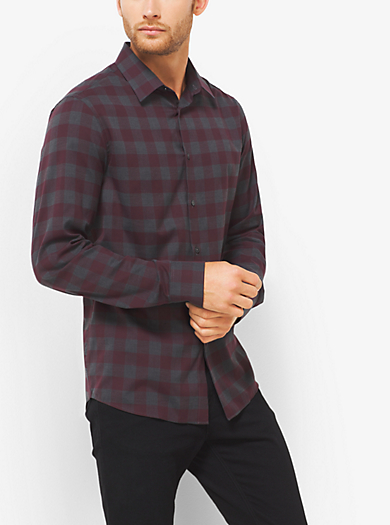 Tailored-Fit Checked Cotton Shirt  by Michael Kors