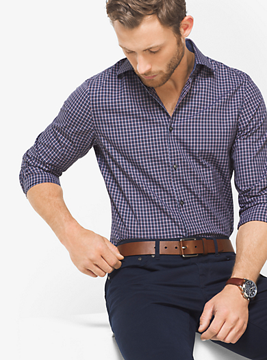 Slim-Fit Check Cotton Shirt by Michael Kors