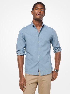 마이클 코어스 맨 슬림핏 데님 셔츠 Michael Kors Slim-Fit Denim Shirt,LIGHT WASH