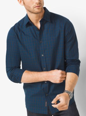 Tailored-Fit Plaid Cotton Shirt                 by Michael Kors