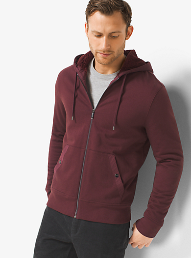 Sherpa-Lined Zip-Up French Terry Hoodie by Michael Kors