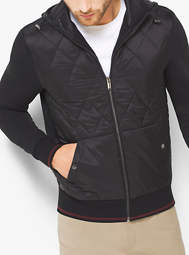 Quilted Nylon and Cotton Hoodie  by Michael Kors