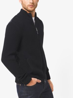 Quilted-Panel Merino Wool Sweater Jacket by Michael Kors