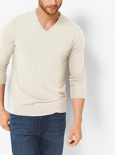 Sweater aus Merinowolle mit V-Ausschnitt by Michael Kors