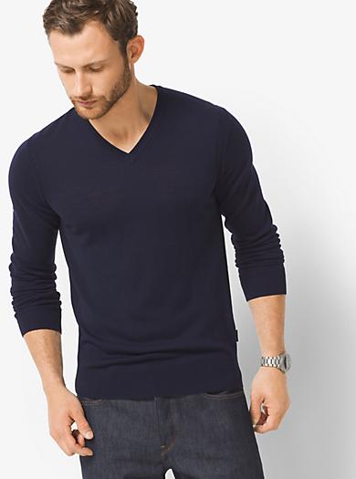 Pullover in lana merino con scollo a V by Michael Kors