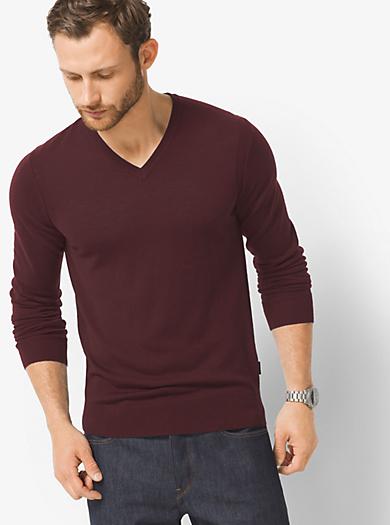 Merino Wool V-Neck Sweater by Michael Kors