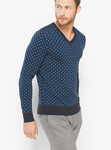 Diamond-Print Merino Wool V-Neck Sweater by Michael Kors