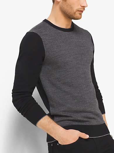 Herringbone Merino Wool Crewneck Sweater by Michael Kors