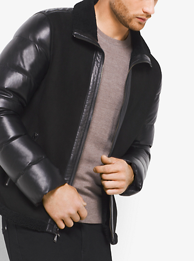 Shearling and Down Leather Jacket by Michael Kors