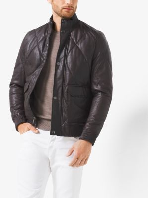Quilted-Leather Bomber Jacket  by Michael Kors