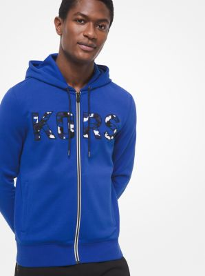 Michael Kors KORS Cotton-Blend Zip-Up Hoodie,TWILIGHT BLUE