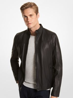 Michael Kors Leather Racer Jacket,BLACK