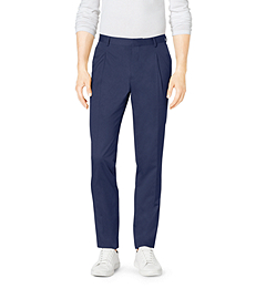 Slim-Fit Pleated Cotton Pants