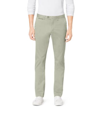 Leather-Piping Tailored-Fit Chinos by Michael Kors