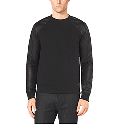 Cotton and Leather Raglan Sweater