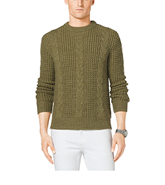 Cable-Knit Wool and Linen Sweater