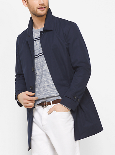 Stretch-Cotton Sateen Trench Coat  by Michael Kors