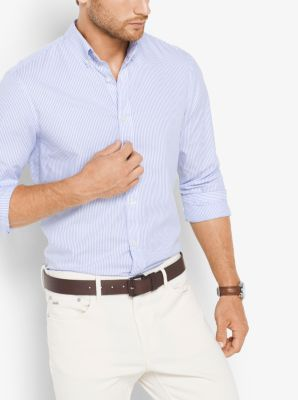 Tailored/Classic-Fit Striped Cotton Shirt by Michael Kors
