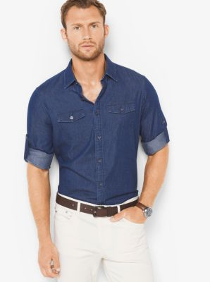 Tailored/Classic-Fit Denim Shirt by Michael Kors