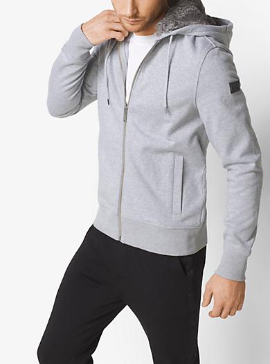 Fur-Lined Zip-Up Hoodie by Michael Kors