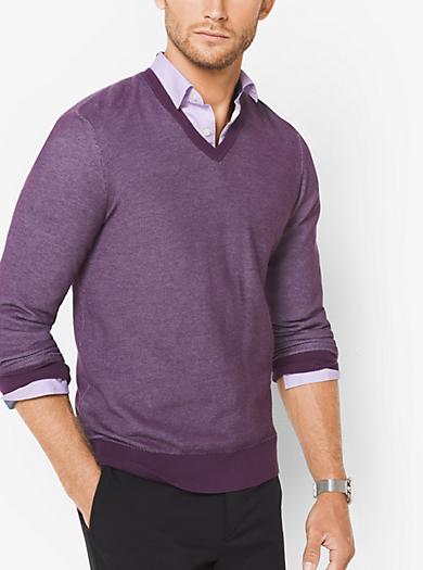 Pullover in cotone con scollo a V by Michael Kors