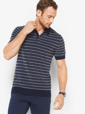 Striped Cotton Polo Sweater by Michael Kors