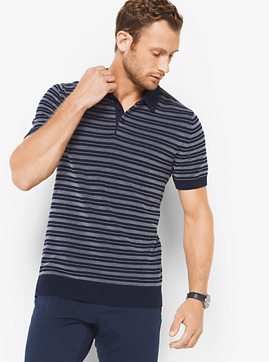 Pullover stile polo in cotone a righe by Michael Kors