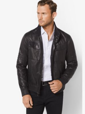 Leather Moto Jacket by Michael Kors