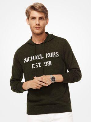Michael Kors Logo Merino Wool Hoodie,OLIVE MEL