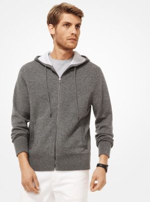 Michael Kors Cashmere-Blend Zip-Up Hoodie,ASH