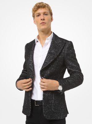 Michael Kors Metallic Herringbone Wool-Blend Blazer,BLACK