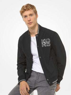 Michael Kors Bonded Fleece Baseball Jacket,BLACK