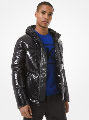Michael Kors Quilted Nylon Hooded Puffer Jacket,BLACK